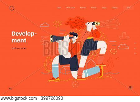 Business Topics - Development, Research, Web Template. Flat Style Modern Outlined Vector Concept Ill