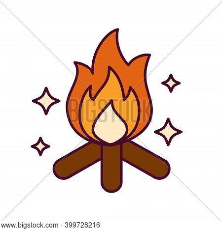 Bright Icon With Bonfire On Firewoods. Symbol Of Makara Sankranti, Hindu Festival Of Sun God Surya.