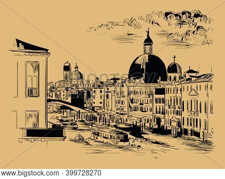Venice Hand Drawing Vector Illustration Grand Canal Brown