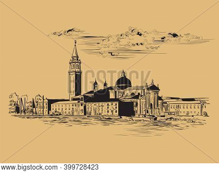 Venice Panorama Hand Drawing Vector Illustration Brown