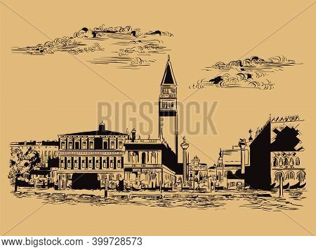 Venice Drawing Vector Illustration St Mark Square Brown