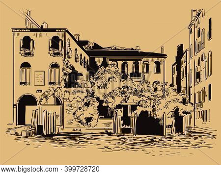 Venice Drawing Illustration Cityscape On Canal Brown