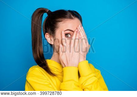 Closeup Photo Of Pretty Lady Two Tails Arms Hiding Eyes Look Fear Watch Cinema Scary Movie Film Wear