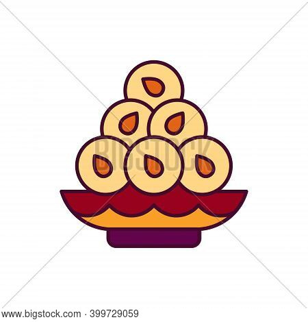 Solid Web Icon With Laddu. It Is Hindu Ritual Dessert With Sesam. It Use During Pongal, Hindu Festiv