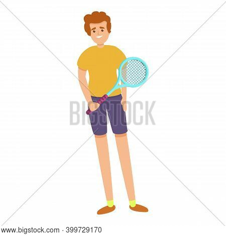 Boy With A Tennis Racket Icon. Cartoon Of Boy With A Tennis Racket Vector Icon For Web Design Isolat
