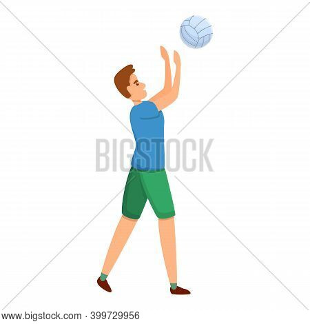 Powerful Volleyball Player Icon. Cartoon Of Powerful Volleyball Player Vector Icon For Web Design Is