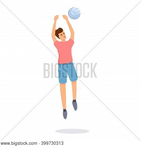 Volleyball Big Jump Icon. Cartoon Of Volleyball Big Jump Vector Icon For Web Design Isolated On Whit