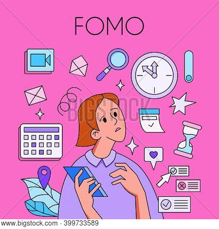Fomo, Fear Of Missing Out Concept. Woman With Phone Surrounded By Social Media Icons. Trendy Style.