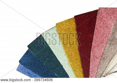 Types And Samples Of Carpets In Different Colors. Carpets For Rooms, Apartments And Houses