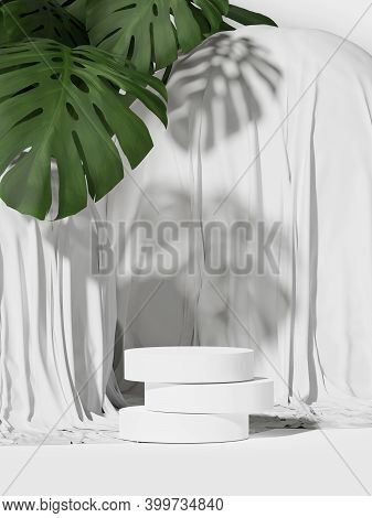 3d Podium Display. Monstera Palm Leaf On White  Background With Cloth. Cosmetics, Beauty Product Pro