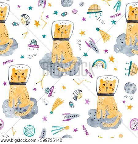 Space adventure. Childish space hand drawn pattern with cat, planets, space ships and stars. Trendy watercolor texture.