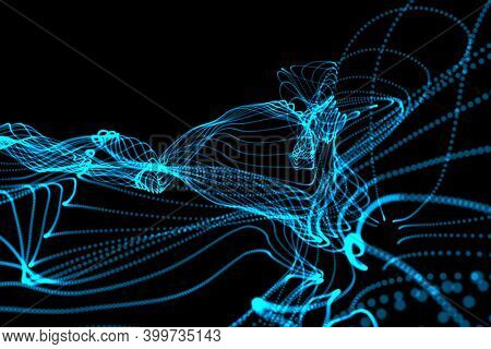 Abstract illustration of glowing blue digital wave against black background. technology background with abstract textures and shapes
