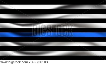 Police Department Flag Waving. Realistic Vector With For Flyer, Web, Banner, Emblem. Law Enforcement
