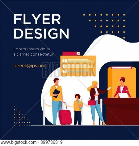 People Standing At Flight Registration Counter. Family, Baggage, Ticket Flat Vector Illustration. Tr
