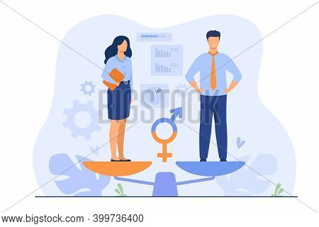 Gender Equality Concept. Equal Business Man And Woman On Balance Scale. Male And Female Employees Wi