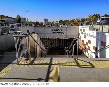 Turkey, Ankara - October 24, 2019: Entrance To Diskapi Metro Station (kecioren Metrosu, M4) In Ankar