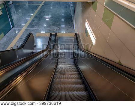 Turkey, Ankara - October 24, 2019: Escalator At Askİ Metro Station In Ankara. A Moving Staircase Lea