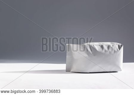 Blank Foil Pouch Bag Isolated On White Background.