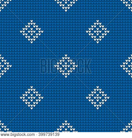 Seamless Knitting Pattern With Rhombuses For Sweater, Scarf, Mitten Or Other Textile Design Is On Th