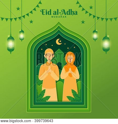 Eid Al-adha Greeting Card Concept Illustration In Paper Cut Style With Cartoon Muslim Couple Blessin
