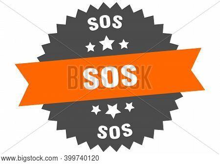 Sos Sign. Sos Orange-black Circular Band Label
