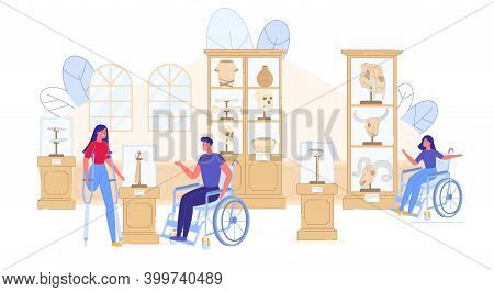 Ancient History Museum Excursion For Disable People. Handicapped Man Woman Sitting On Wheelchair Or