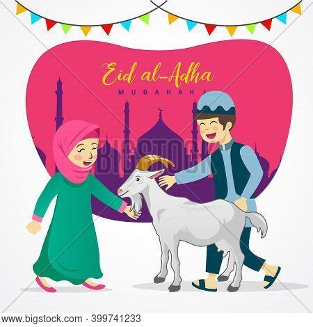 Eid Al Adha Greeting Card. Cute Cartoon Muslim Kids Holding A Goat For Sacrifice With Mosque As Back