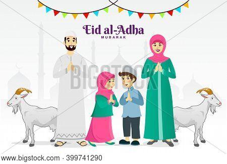 Eid Al Adha Greeting Card. Cartoon Muslim Family Celebrating Eid Al Adha With Goats And Mosque As Ba