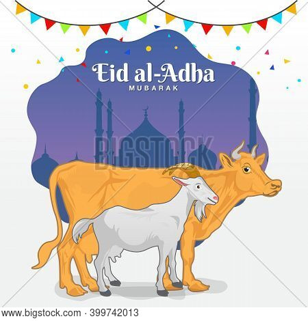 Eid Al Adha Greeting Card (sacrificial Feast). Cartoon Goat And Cow With Mosque As Background