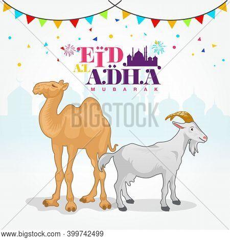 Eid Al Adha Logo With Goat And Camel