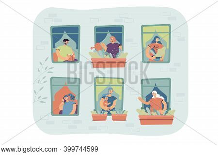 People Standing At Windows In Their Apartment, Watering Home Plants, Talking On Cell, Enjoying Leisu