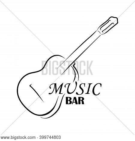 Guitar Logo And Inscription Music Bar. Hand Drawing Music Logo. Vector Illustration Silhouette Of Gu