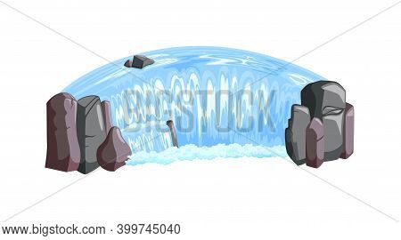 Waterfall Cascade Isometric View. Waterfall Landscape With Rocks And Foam. Vector Illustration In Ca