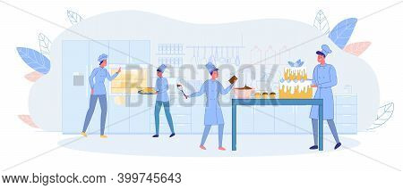 Family Confectionery, Cake And Pastry Production. Parents And Children Prepare Cake Pastry Shop. Gir