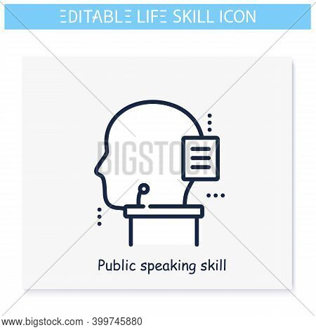 Public Speaking Skill Line Icon. Eloquence, Oratory. Personality Strengths And Characteristics.soft
