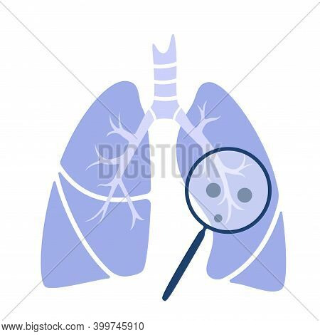 Lungs Anatomy, Logo For Clinic. Virus In Respiratory System. Transplantation Center Or Pulmonology C