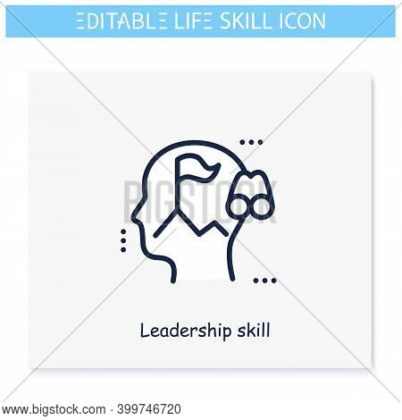 Leadership Skill Line Icon. Authotity, Guidance And Supervision.personality Strengths And Characteri