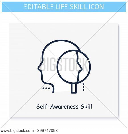 Self Awareness Line Icon. Self Cognition, Personality Improvement.personality Strengths And Characte