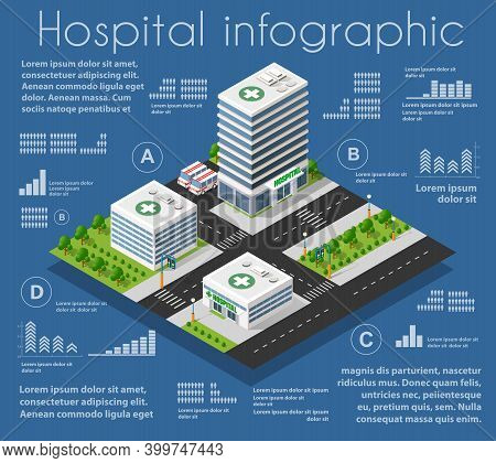 Hospital Infographics, Graph, Statistics Isometric 3d Building