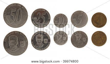 Ecuadorian centavo coins isolated on white