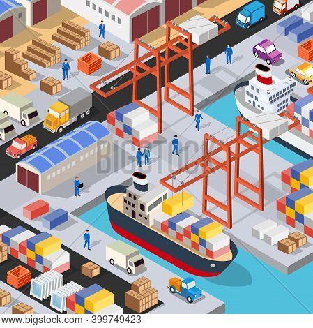 Isometric Port Cargo Ship Cargo Seaport At Sea