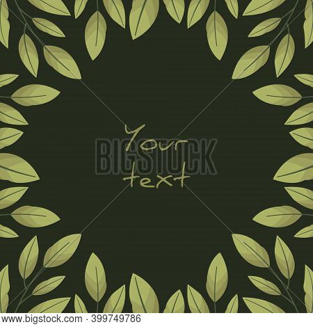 Square Foliate Postcard; Frame With Bay Leaves On Dark Green Background; Design For Greeting Cards,
