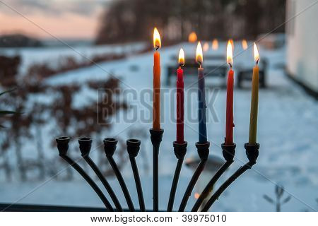 Hanukkah Menorah Chanukkiah With Candles