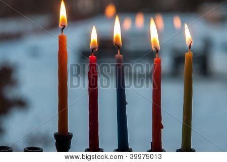 Hanukkah Menorah Chanukkiah With Candles