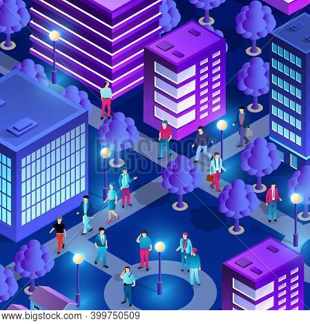 City Downtown Center Night Neon Ultraviolet Walking People
