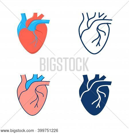 Human Heart Icon Set In Flat And Line Style