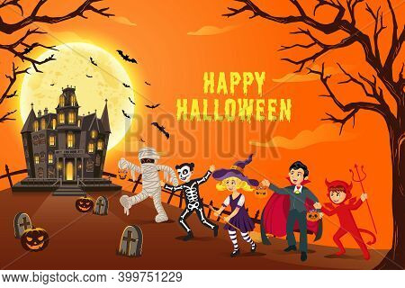 Happy Halloween Background. Kids Dressed In Halloween Costume To Go Trick Or Treating With Mysteriou