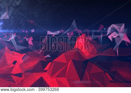 Abstract illustration of red geometric polygonal shapes against blue background. background with abstract texture with abstract shapes concept