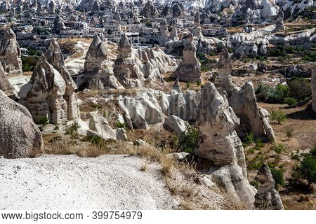 Goreme, Turkey - October 4, 2020: This Is A View Of The Goreme Valley With Fabulous Needle-shaped Er