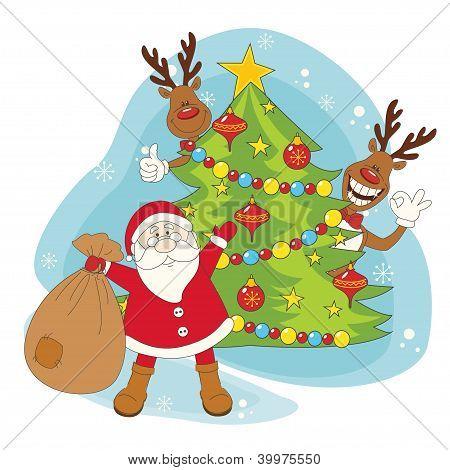 Santa greeting you a Merry Christmas. Hand drawing illustration. poster